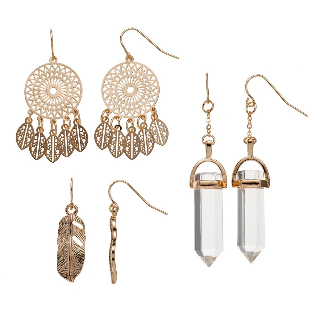 Mudd® Dream Catcher, Feather & Faceted Stone Nickel Free Drop Earring Set
