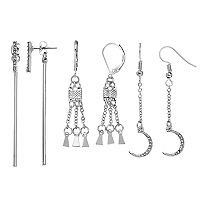 Mudd® Fringe, Crescent & Bar Front-Back Nickel Free Drop Earring Set