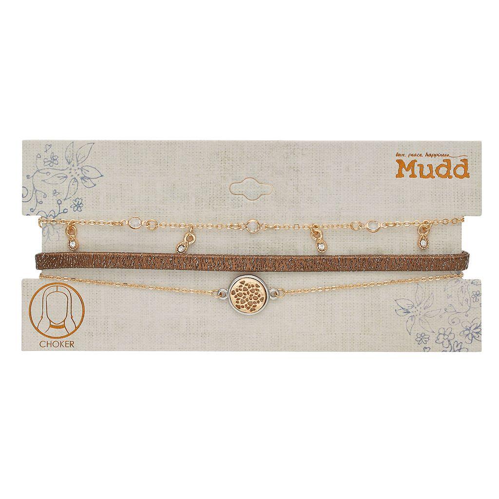 Mudd® Glittery Cord, Two Tone Disc & Shaky Teardrop Choker Necklace Set