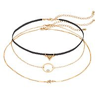 Mudd® Triangle, Circle & Star Choker Necklace Set