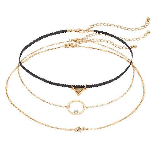 Mudd® Triangle, Circle & Star Choker Necklace Set