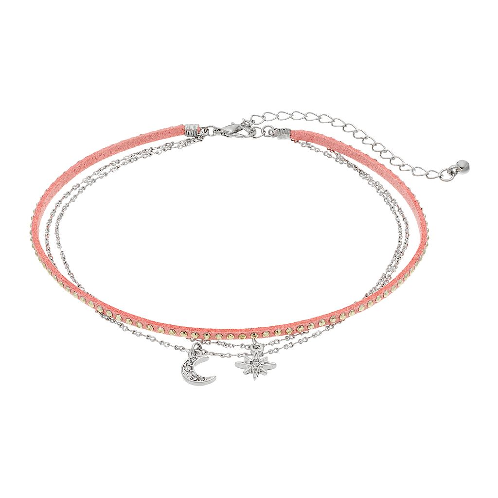 Mudd® Pink Studded Cord & Celestial Charm Choker Necklace