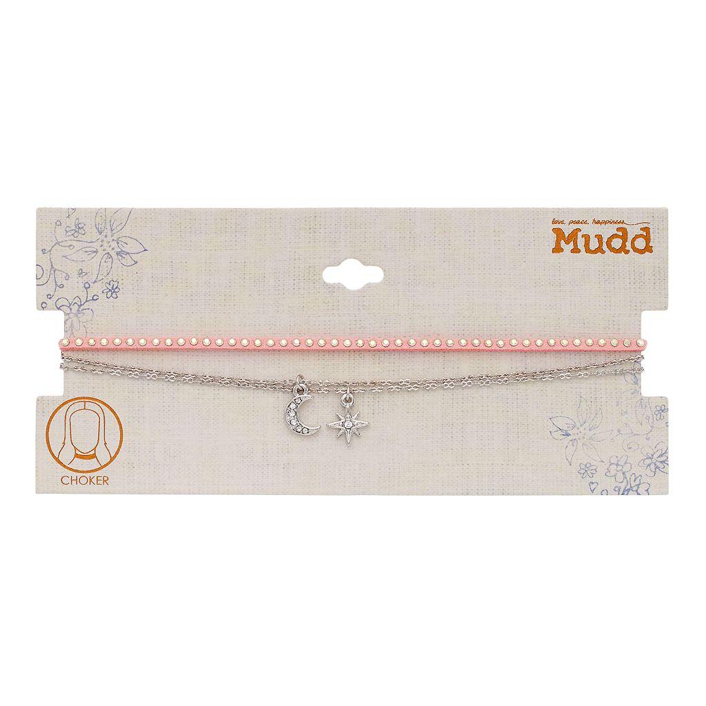 Mudd® Pink Studded Cord & Celestial Charm Choker Necklace