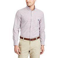 Men's Chaps Classic-Fit Tattersall-Checked Stretch Oxford Button-Down Shirt