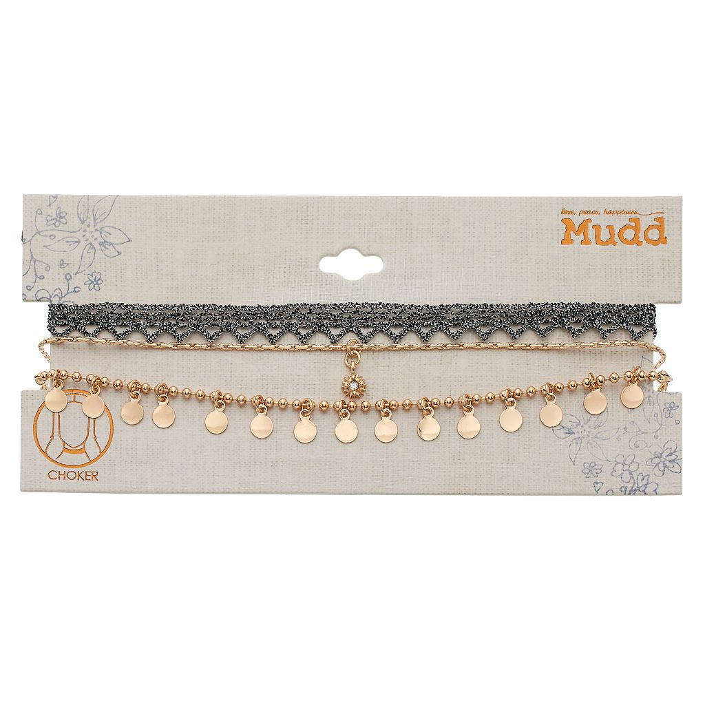 Mudd® Macrame & Beaded Shaky Disc Choker Necklace Set