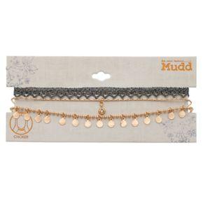 Mudd® Macrame & Beaded Shaky Disc Choker Necklace Set