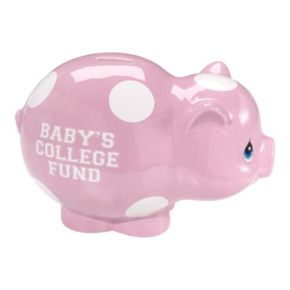 """Precious Moments """"Baby's College Fund"""" Pink Piggy Bank"""
