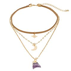 Mudd® Star, Crescent Moon & Purple Stone Layered Pendant Choker Necklace