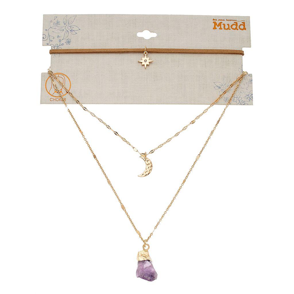 Mudd® Star, Crescent Moon & Purple Stone Layered Pendant Choker Necklace