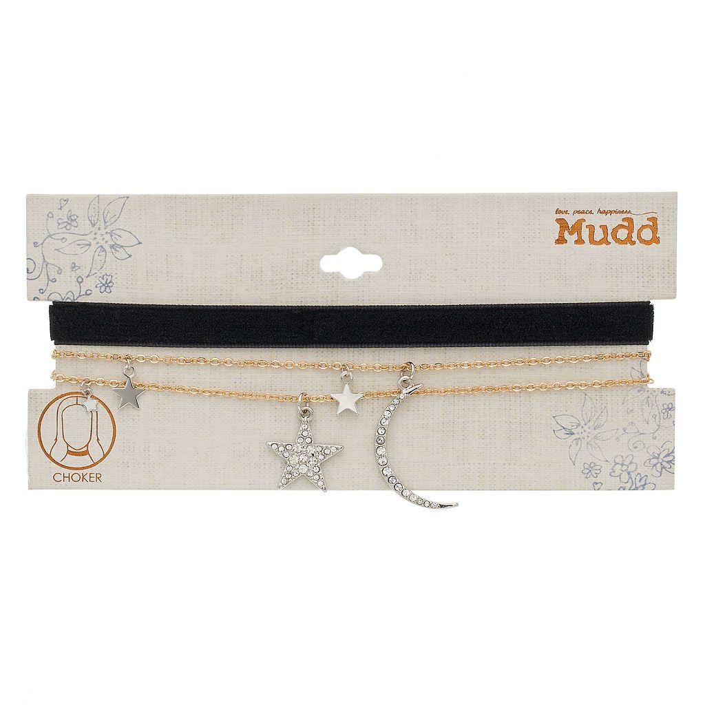 Mudd® Star & Crescent Moon Pendant Layered Choker Necklace