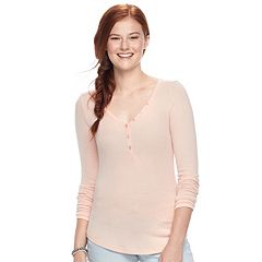 Juniors' SO® Solid Henley Top