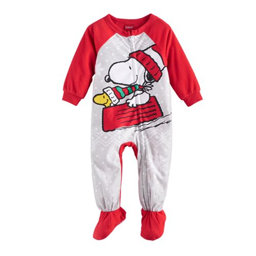 Baby Jammies For Your Families Peanuts Snoopy & Woodstock Sledding Microfleece Footed Pajamas