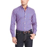 Men's Chaps Classic-Fit Plaid Stretch Poplin Button-Down Shirt