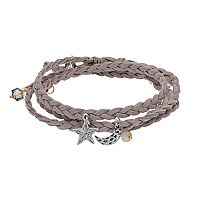 Mudd® Star & Crescent Charm Braided Wrap Bracelet