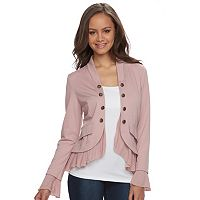 Juniors' About A Girl Ponte Military Blazer