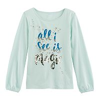Girls 4-12 SONOMA Goods for Life™ Cinched Long-Sleeve Embellished Tee