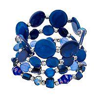 Blue Composite Shell & Stone Bead Stretch Bracelet Set