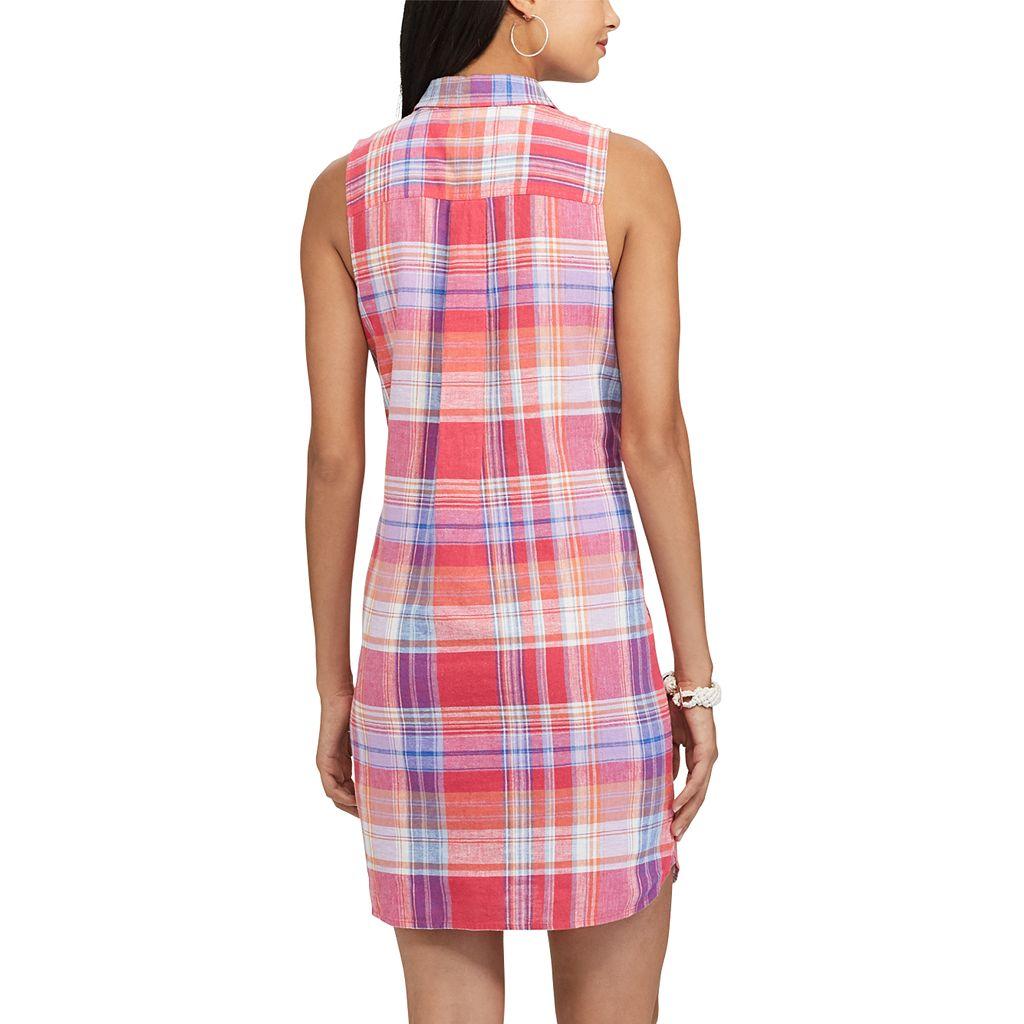 Women's Chaps Plaid Linen Blend Shirtdress