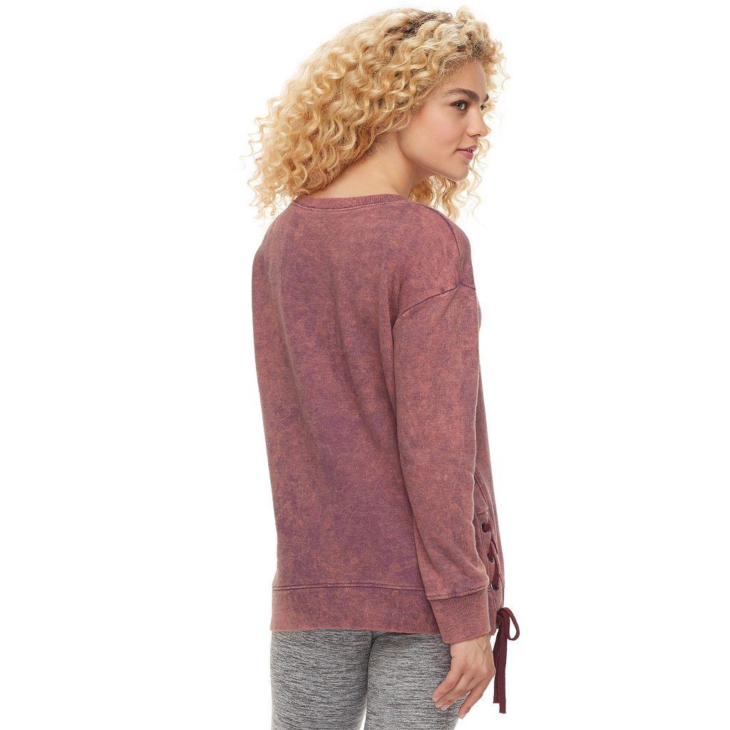 madden NYC Juniors' Lace Up Long Sleeve Sweatshirt