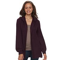Juniors' Mudd® Bishop Sleeve Hooded Cardigan