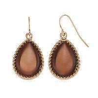 Brown Cabochon Teardrop Earrings