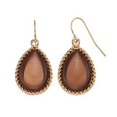 Brown Cabochon Teardrop Earrings