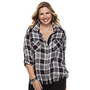 Plus Size Rock & Republic® Metallic Plaid Top