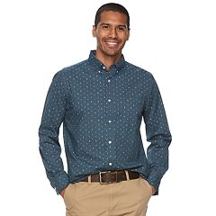 Men's SONOMA Goods for Life™ Flexwear Slim-Fit Plaid Poplin Button-Down Shirt