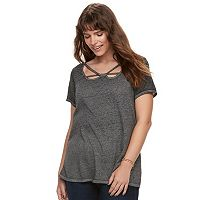 Plus Size Rock & Republic® Strappy Cutout Tee