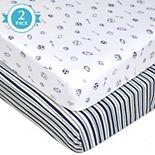 TL Care 2-pk. Patterned Jersey Knit Portable/Mini Crib Sheet