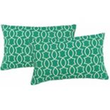 Metje Titan Geometric Indoor Outdoor 2-piece Reversible Oblong Throw Pillow Set