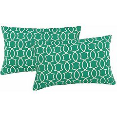 Metje Titan Geometric Indoor Outdoor 2 pc Reversible Oblong Throw Pillow Set