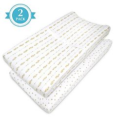 TL Care 2-pk. Patterned Jersey Knit Fitted Contoured Changing Table Pad Cover