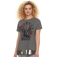 madden NYC Juniors' Sequin Hem Graphic Tee