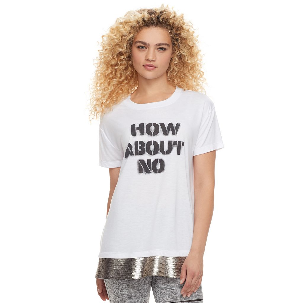madden NYC Juniors' Sequin Hem Graphic Tee