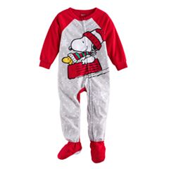 Toddler Jammies For Your Families Peanuts Snoopy & Woodstock Sledding Microfleece Footed Pajamas