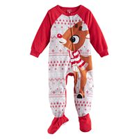 Toddler Jammies For Your Families Rudolph The Red Nosed Reindeer Microfleece Footed Pajamas