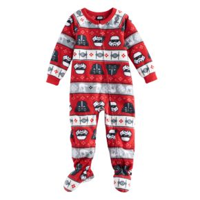 Toddler Jammies For Your Families Star Wars Darth Vader & Stormtrooper Fairisle Microfleece Footed Pajamas