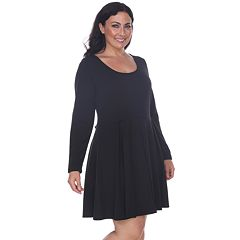 3fe971cf414 Plus Size White Mark Pleated Fit   Flare Dress