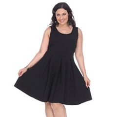 Plus Size White Mark Pleated Fit & Flare Dress
