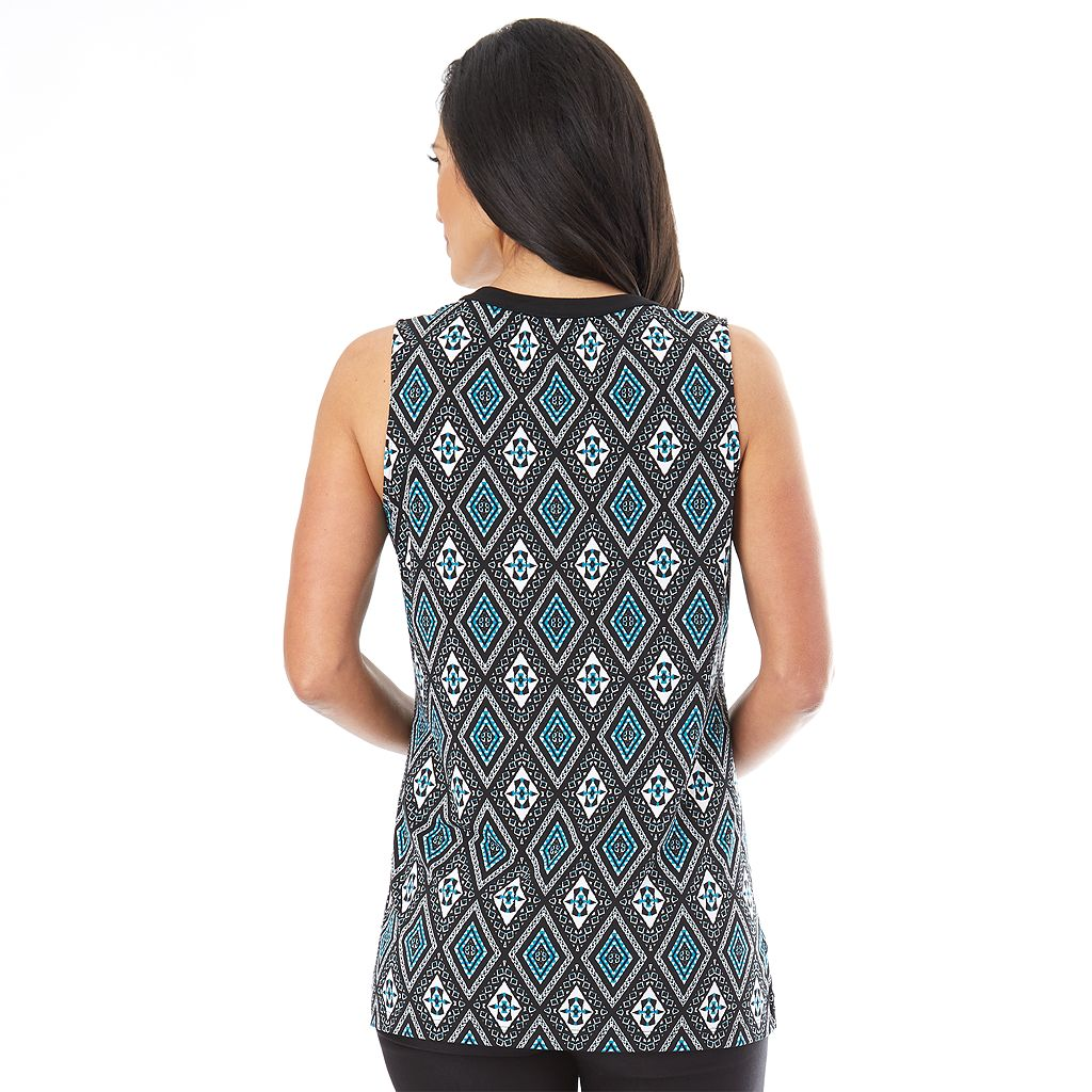 Women's AB Studio Printed Mandarin Tank Top