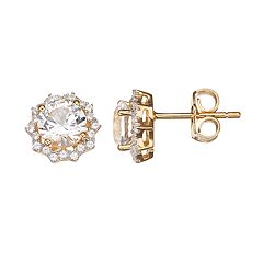 14k Gold Over Silver Lab-Created White Sapphire Halo Stud Earrings