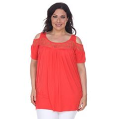 Plus Size White Mark Lace Cold-Shoulder Top