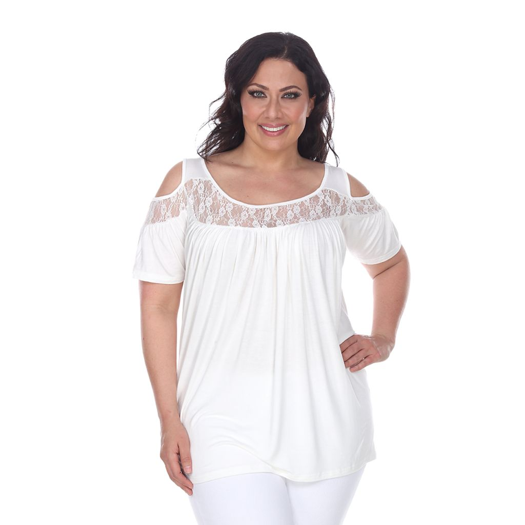 Plus Size White Mark Lace Cold-Shoulder Top