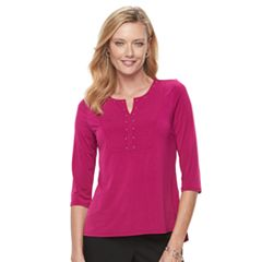 Women's Dana Buchman Studded Split-Neck Ribbed Top
