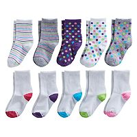 Girls 4-16 Hanes 10-pk. Polka-Dot, Stripe & Colorblocked Crew Socks