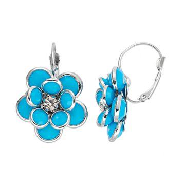 Aqua Flower Nickel Free Drop Earrings