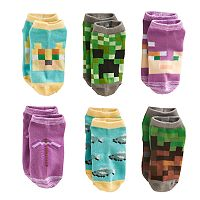 Girls 4-16 Minecraft 6 pkNo-Show Socks