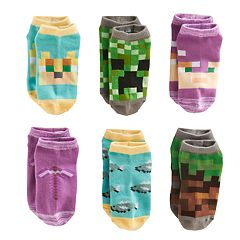 Girls 4-16 Minecraft 6-pk No-Show Socks