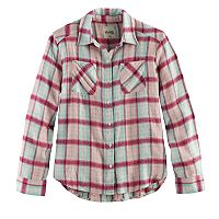 Girls 7-16 & Plus Size Mudd® Metallic Plaid Button-Front Shirt